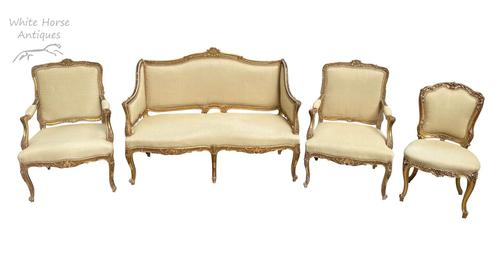 Exceptional Antique French 19th Century Gold Gilt Upholstered Salon Suite (1 of 9)