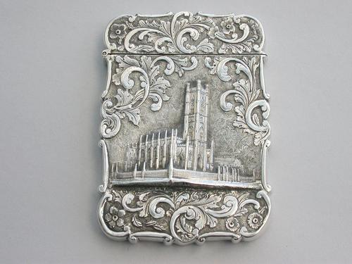 Victorian Silver Castle-top Card Case - St Luke's Church, Liverpool by Nathaniel Mills, Birmingham, 1845 (1 of 12)