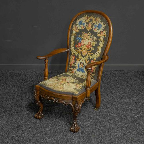 Victorian Carved Rosewood Armchair with Tapestry Upholstery (1 of 13)