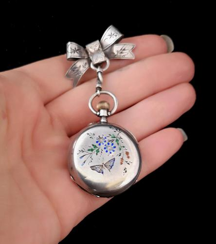 Victorian silver and enamel pocket watch, ladies (1 of 2)