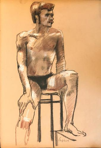 Original Chalk Drawing  'A 70's Man.' by Toby Horne Shepherd - Signed Bottom Right c.1970 (1 of 1)