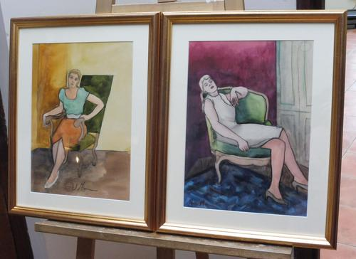 Pair of Watercolours Girl in the Chair Listed French Artist Janine Marca 1960s (1 of 10)