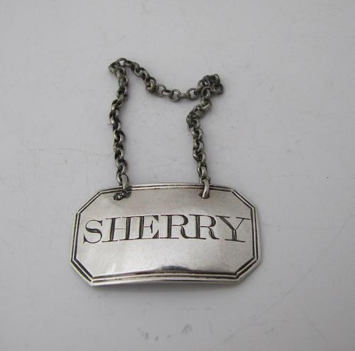 Georgian Silver Wine Label 'Sherry' Thomas Phipps & Edward Robinson London 1806 (1 of 3)