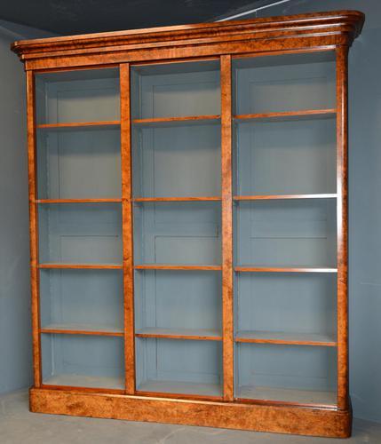 Burr Walnut Open Bookcase (1 of 2)