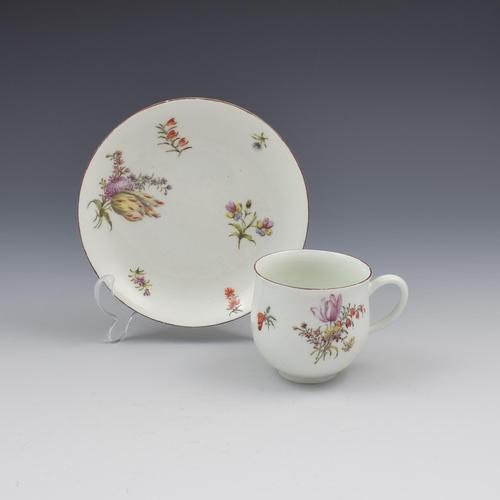 Chelsea Porcelain Red Anchor Period Bell Shape Cup & Saucer (1 of 7)