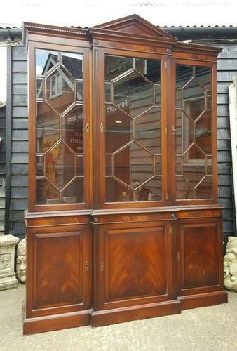 Reprodux Bevan Funnell Mahogany Breakfront Library Bookcase (1 of 5)