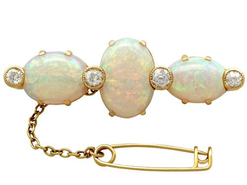 8.74ct Opal & 0.96ct Diamond, 18ct Yellow Gold Brooch - Antique Victorian (1 of 8)