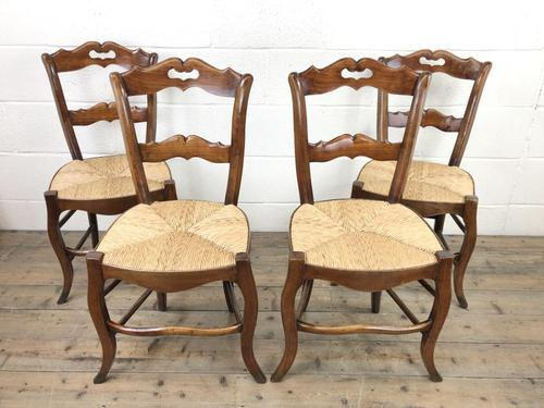 Set of Four Antique French Fruitwood Dining Chairs (1 of 9)