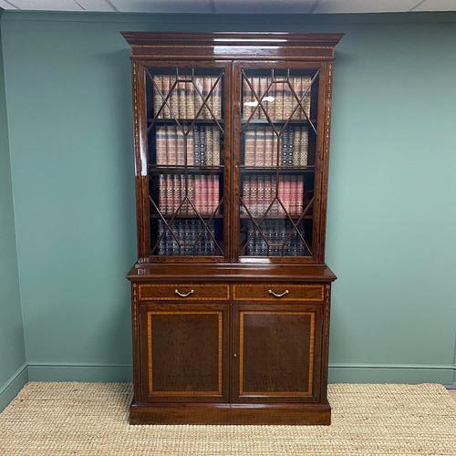 Exceptional Inlaid Victorian Antique Glazed Bookcase by Edwards and Roberts (1 of 10)