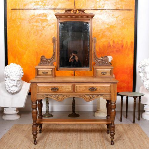 Dressing Table Burr Walnut Mirrored 19th Century (1 of 9)