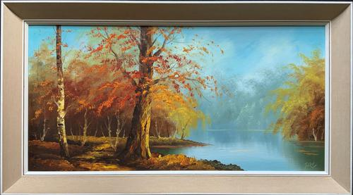 Immaculate Large Original Mid-20thc Vintage Autumn River Landscape Oil Painting (1 of 11)