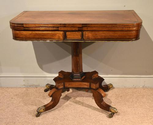 Regency Brass Inlaid Rosewood Card Table (1 of 6)