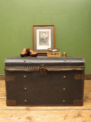 Antique Black Chest Trunk Storage Box, Steamer Trunk (1 of 13)