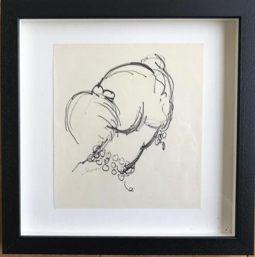 Original Black Pen Drawing 'Profile' by Toby Horne Shepherd 1909-1993 c.1960 - Signed Bottom Left (1 of 2)