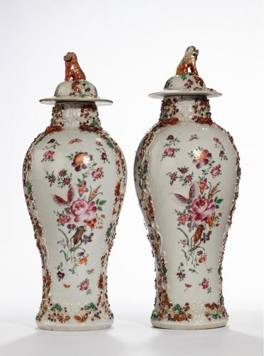 Pair of Late 19th Century Oriental Porcelain Baluster Shaped Vases (1 of 2)