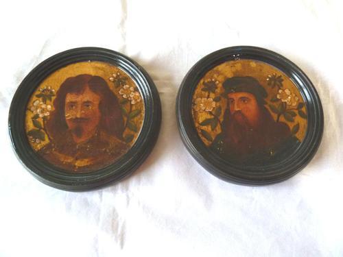 2 19th Century Pre Raphaelite Roundel Oil Portraits . Da Vinci & Velasquez (1 of 7)