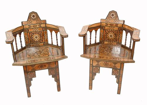 Pair of Damascan Chairs Inlay Arabic Syrian Interiors c.1920 (1 of 12)