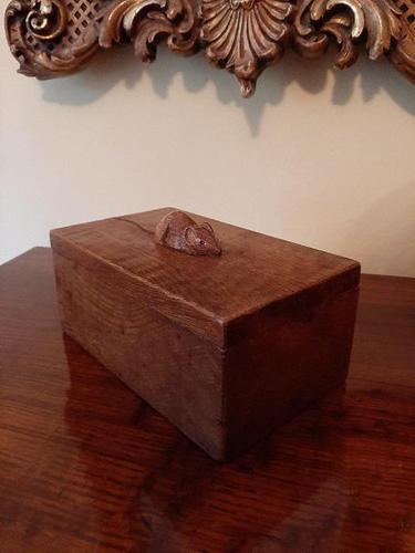 Early Mouseman Adzed Oak Lidded Box (1 of 6)