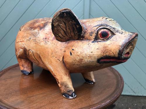 Antique Carved Pine Butchers Shop Display Pig (1 of 8)