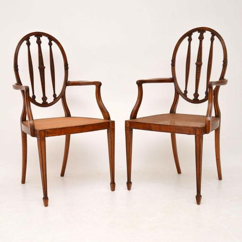 Pair of Antique Satinwood Cane Seated Armchairs (1 of 12)