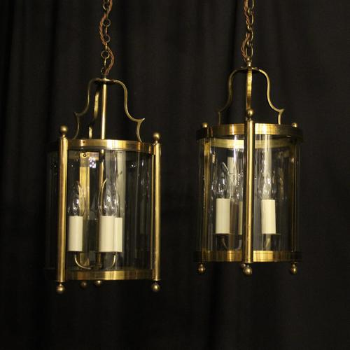 French Gilded Pair of Convex Triple Light Lanterns c.1930 (1 of 10)