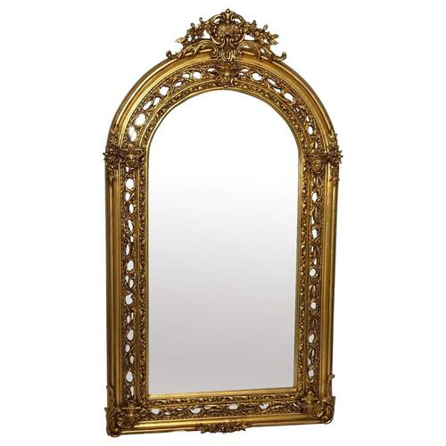 Huge French Sphinx Garland Floral Crown Gilt Pier Glass Wall Floor Mirror (1 of 14)