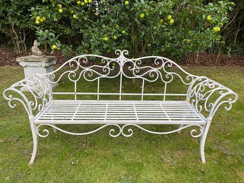 Large French Art Deco Style Fleur De Lis Garden Double Bowed  Curved Bench Seats 3 (1 of 37)
