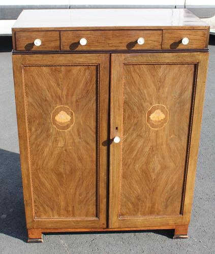 1940s Walnut Tallboy with Good Inlay Detailing (1 of 4)