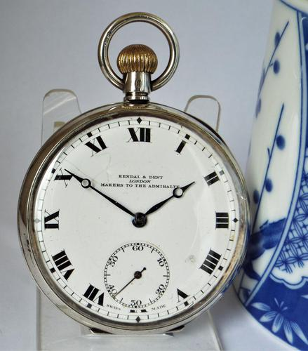 1919 Silver Kendal & Dent Pocket Watch (1 of 5)