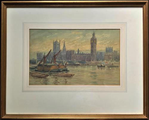 William Henry Harford - Houses of Parliament Riverscape Painting 19th Century (1 of 10)