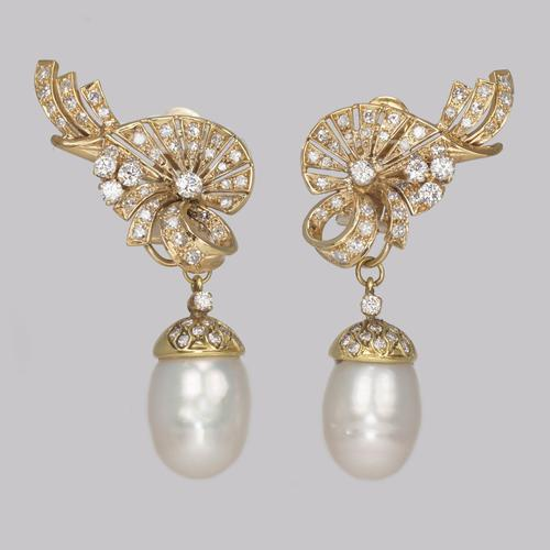 Vintage Diamond & Pearl Drop Earrings 1950s 18ct Gold 3.5carat Diamond Earrings (1 of 11)