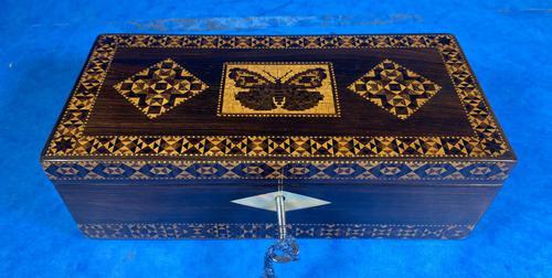 William IV Rosewood Glove Box with Superb Stickware & Tunbridge Ware Inlay (1 of 12)