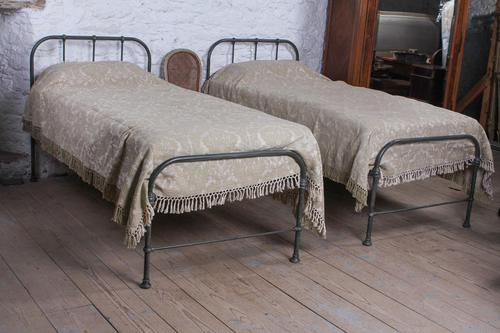 Lovely Simple Pair of Utilitarian Single Iron Beds (1 of 8)
