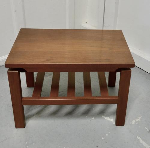 Small Mid Century Modern Teak Coffee Table with Magazine Shelf  Under (1 of 4)