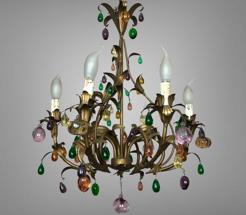 Murano Glass Fruit Venetian 6 Arm Toleware Ceiling Light Chandelier (1 of 9)