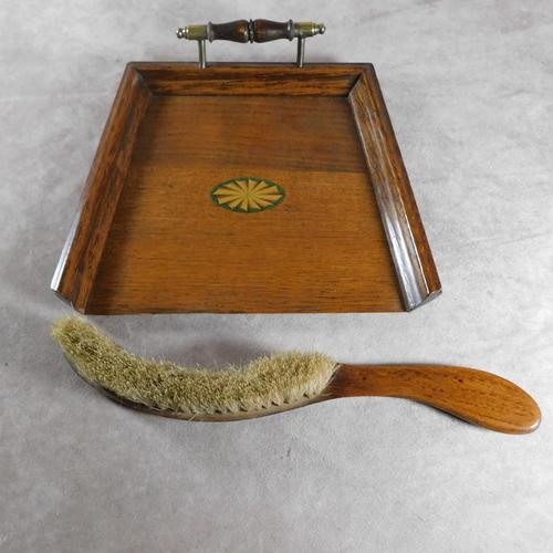 Edwardian Oak Crumb Tray & Brush (1 of 6)