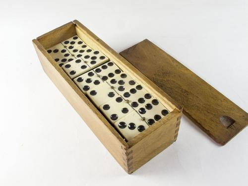 Boxed Set of Victorian Ebony & Bone Dominoes with Brass Studs (1 of 5)