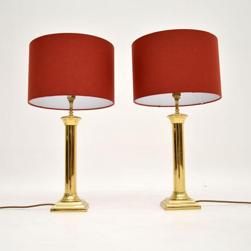 Pair of Vintage Solid Brass Table Lamps (1 of 8)