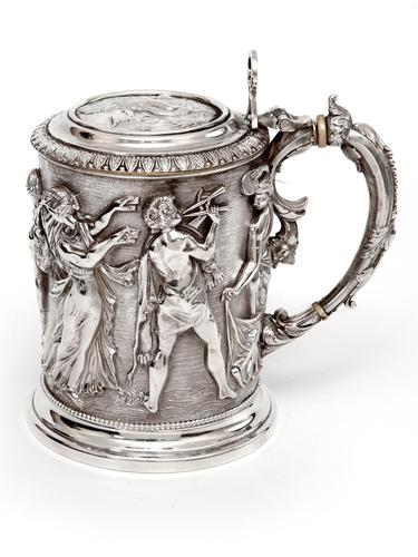 Ornate Victorian Electro Formed Silver Plated Lidded Tankard with Figural Scenes of Musicians (1 of 13)