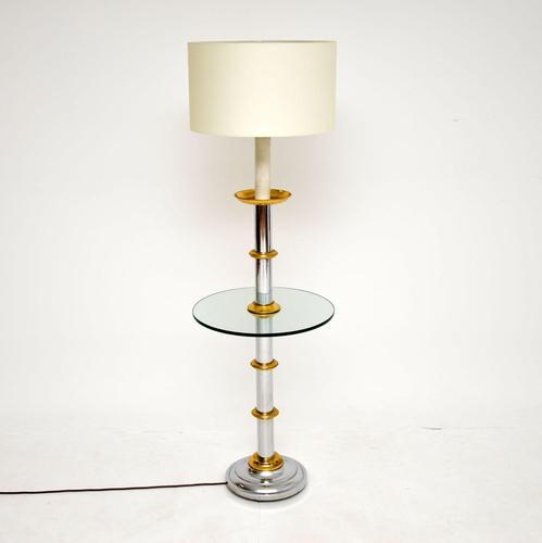 Vintage Chrome & Brass Floor Lamp / Table (1 of 8)