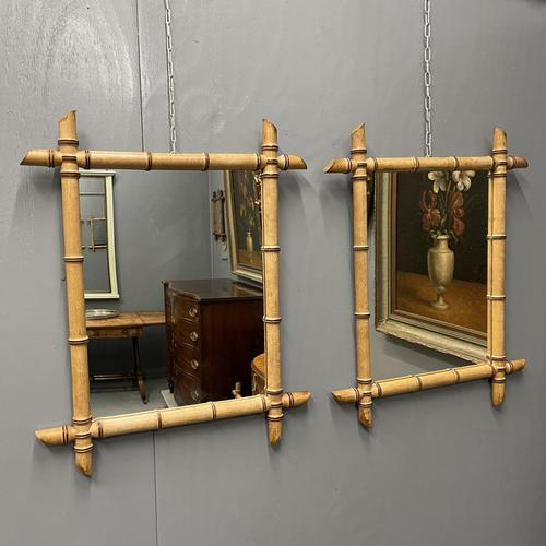 Pair of French Faux Bamboo Mirrors (1 of 6)