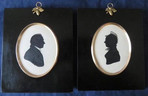 Pair of Victorian Silhouettes in Ebonised Frames (1 of 6)