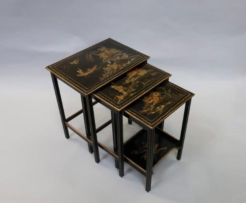Edwardian Japanned Chinoiserie Nest of Tables (1 of 12)
