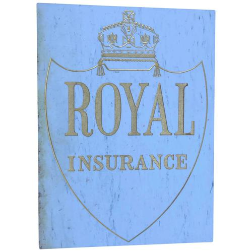Interesting Architectural Large Heavy Marble & Gilt Inscribed Royal Insurance Building Sign (1 of 13)