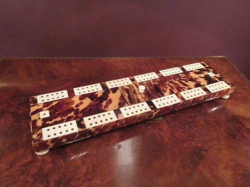 Antique Tortoiseshell & Bone Cribbage Board (1 of 6)