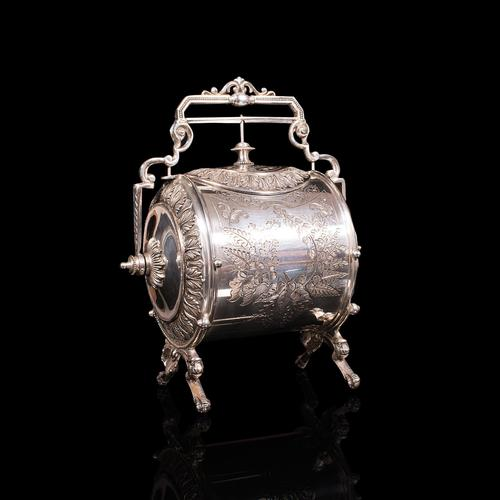 Antique Engraved Biscuit Barrel, Silver Plate, Decorative Jar, Victorian c.1860 (1 of 12)