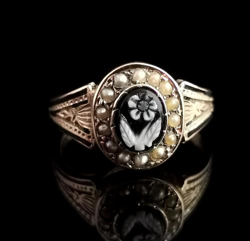 Antique Victorian Mourning Ring, 15ct Gold, Black Enamel & Seed Pearl, Agate Forget me Not (1 of 13)