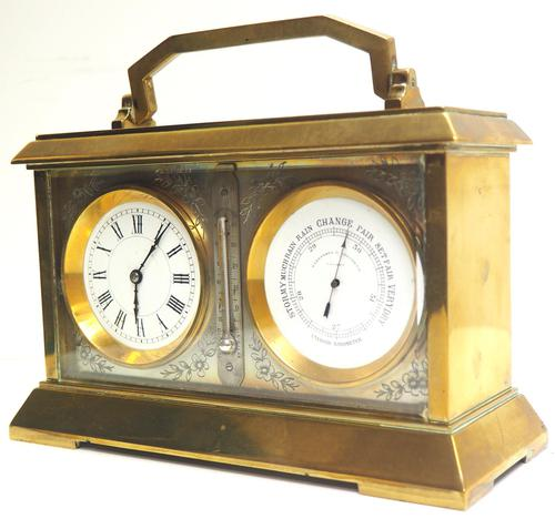 Fine Antique French 8-day Combination Thermometer, Clock & Barometer Carriage Clock Timepiece by Frodsham c.1890 (1 of 10)