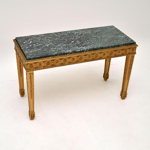 French Giltwood Marble Top Coffee Table c.1930 (1 of 8)