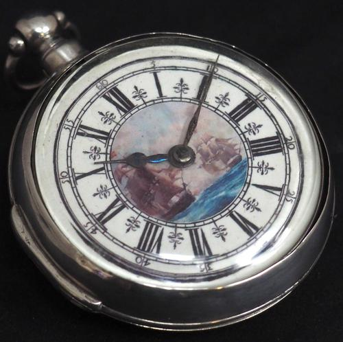 Antique Silver Pair Case Pocket Watch Fusee Verge Escapement Key Wind Galleon Ships Painting (1 of 5)